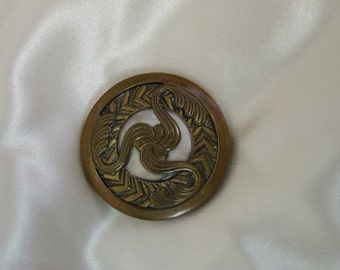 Beautiful Art Nouveau Antique Button with Pearl 1 1/8""