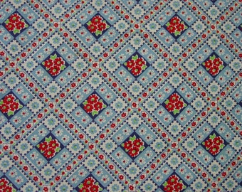 "Pretty Vintage Feedsack, Fabric, Lg. 36 x 45"" Bright Red,White,Blue"