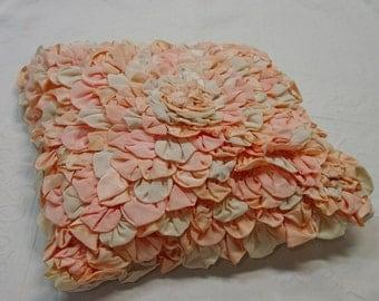 Vintage Petal Boudoir Pillow Top Silks, Peach/Pink, Beautiful