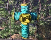 For Linda - Turquoise Metal Cross - Vintage Bottle Cap -  Original Folk  / Tramp Art / Outsider  -  Original Cathy DeLeRee