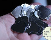 Silver Hearts Wedding Confetti for party or cake tables-70 pieces made of foil paper