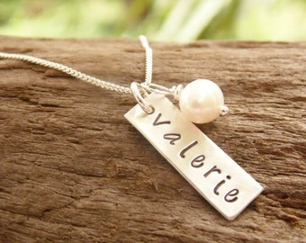 Hand Stamped Name Necklace Sterling Silver Rectangle Tag