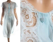 Romantic 60's vintage really sheer incredibly soft aqua nylon and delicate decorative lace detail short sleeve long nightdress - 3606