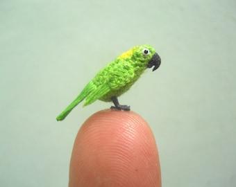 Yellow-naped Amazon Parrot in Dome - Micro Amigurumi Miniature Crochet Bird Stuffed Animal - Made To Order