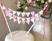 Three strings: Birthday Cake Topper Bunting personalized, any colour