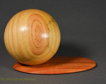 Sauron Sphere of contentment. Sugar pine with carob base.