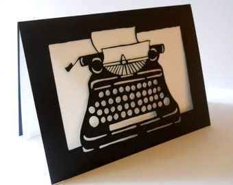 Typewriter laser cut card