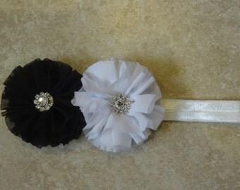 Black and White chiffon flower headband