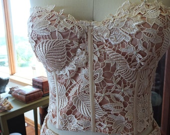 Ivory Lace over rich peach lining wedding dress Bustier top side slit skirt two peice dress