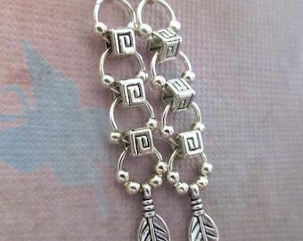 Silver Metal Dangle Hoop Feather Earrings, Bohemian Style Earrings, FREE SHIPPING, Handmade, Dangle Earrings