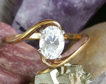 14K HGE Oval CZ Twist Bypass Engagement Ring Size 8 3/4 Signed ESPO