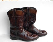ON SALE Vintage Leather Boots - Acme Boots - Mahogany Boots - Motorcycle Boots
