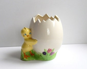 ON SALE Vintage Chick Planter - Chick Egg Ceramic - Spring Easter Decor - Yellow Baby Chick