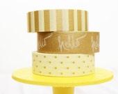 Hello Gold Washi Tape Set Gold Stripes / Gold Hello / Gold Dots