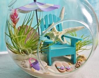 """Beach Terrarium  Kit ~ Day at the Beach Terrarium ~ Beach Umbrella Color Choice ~ Adirondack Chair ~ Air plants ~ 8"""" Glass Globe ~ Gift"""