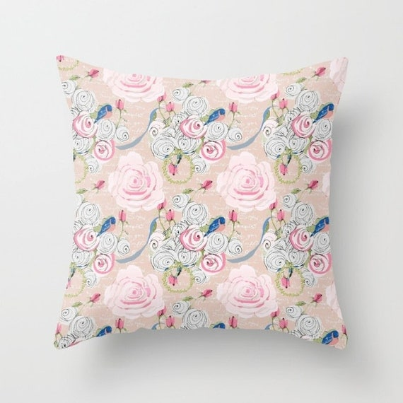 Indoor Decorative Throw Pillow Cover, Shabby Chic Roses and Bluebirds on Blush background with French script