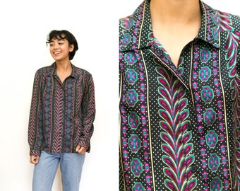 80s Psychedelic Button Up Blouse / Peacock Print Abstract Button Up Shirt / Multi Color Polka Dot Disco Collared Shirt Medium Large 12