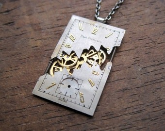"""Watch Face Pendant """"Obliterate"""" Deconstructed Watch Dial Necklace Recycled Upcycled Gear Art Steampunk by A Mechanical Mind"""