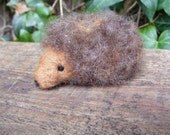 Hedgehog - Needlefelted little woolly hedgehog for Autumn season display, Waldorf nature table (Brown)