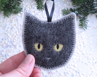 Handmade Christmas ornament - felt cat ornament - handcrafted from 100% wool felt - Christmas and Holiday decor