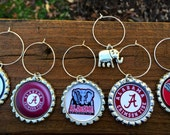 Set of 6 Alabama Roll Tide inspired wine glass charms for the wine lover in your life.... Including awesome silver elephant charm