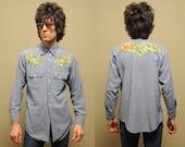 vintage embroidered denim shirt 60s hippie boho chambrey shirt Funk & Flash rolling hills sun 1960s embroidery medium M