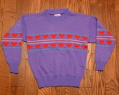 vintage purple sweater with red hearts girls womens vintage 80s 1980 jumper crop top RAGS Knitwear small XS Lucky 7