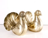 French Vintage Bookends Brass Pair of Doves
