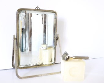 French Vintage Shaving Mirror triptych barber bathroom with pivot stand