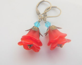 Red and Blue  Lucite Flowers Earrings