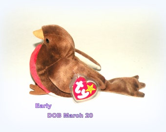 TY Beanie Baby W Tag ERROR- EARLY Bird- Etsy Christmas Sale Retired Toy