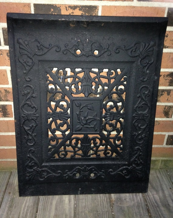 Vintage Cast Iron Fireplace Stove Summer Door