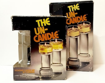 """Vintage Corning Glass Un-Candles, 2 boxed Sets, 9"""" and 7"""", 1970s, floating candles, oil candles, modernist design"""