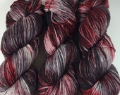 Merino Superwash Worsted, Hand Dyed Yarn, Road Kill, Superwash merino, worsted weight, red, silver, black, yarn
