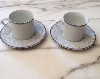 Dansk Tapestries Damask White Gray Blue 2 CUPS & SAUCERS Jack Lenor Larsen China Coffee Tea