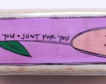 Kolette Hall Wooden Rubber Stamp Just For You Tulip Flower Studio G