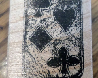 Club Scrap Limited Edition Deck Of Cards Suits Heart Diamond Wooden Rubber Stamp