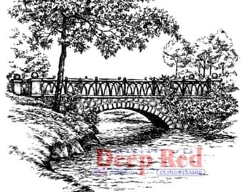 Deep Red Cling Rubber Stamp Stone Bridge and Stream Nature Scene