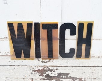 "Vintage Witch Sign Marquee Word Letters Plastic Black Yellow Orange 9"" Acrylic Aged Patina Wall Window Spelling Halloween Party Decoration"