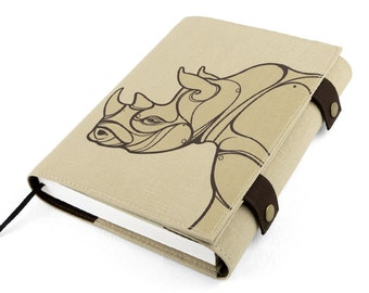 Journal, Notebook, Rhinoceros (Large), Sketchbook, Softcover, Cotton, Personal agenda, Travel Journal, Diary, Calendar,Unique gift, Artistic