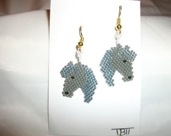 Horse heads Earrings Silver N Gray