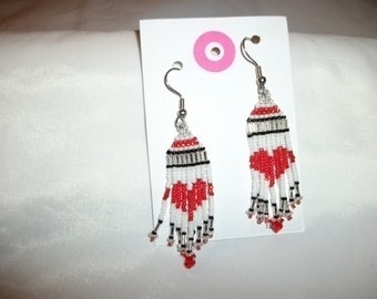 Red Heart Earrings with Crystals  D