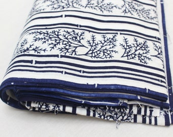 Japanese Vintage Indigo Yukata Cotton. Full Fabric Bolt for Traditional Clothing. Hand Dyed Indigo.  (Ref: 1608B)