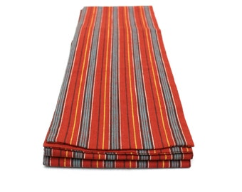 Japanese Obi. Red Blue Striped Cotton Tsumugi Pongee (Ref: 1223)