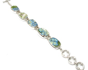 Broken China Jewelry Portmeirion Botanic Garden Blue Hydrangea Flowers & Butterfly Sterling Silver Bracelet