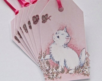 Kitty Cat Gift Tags, Thank You, Wedding, Birthday, Hang Tags Lot of 8