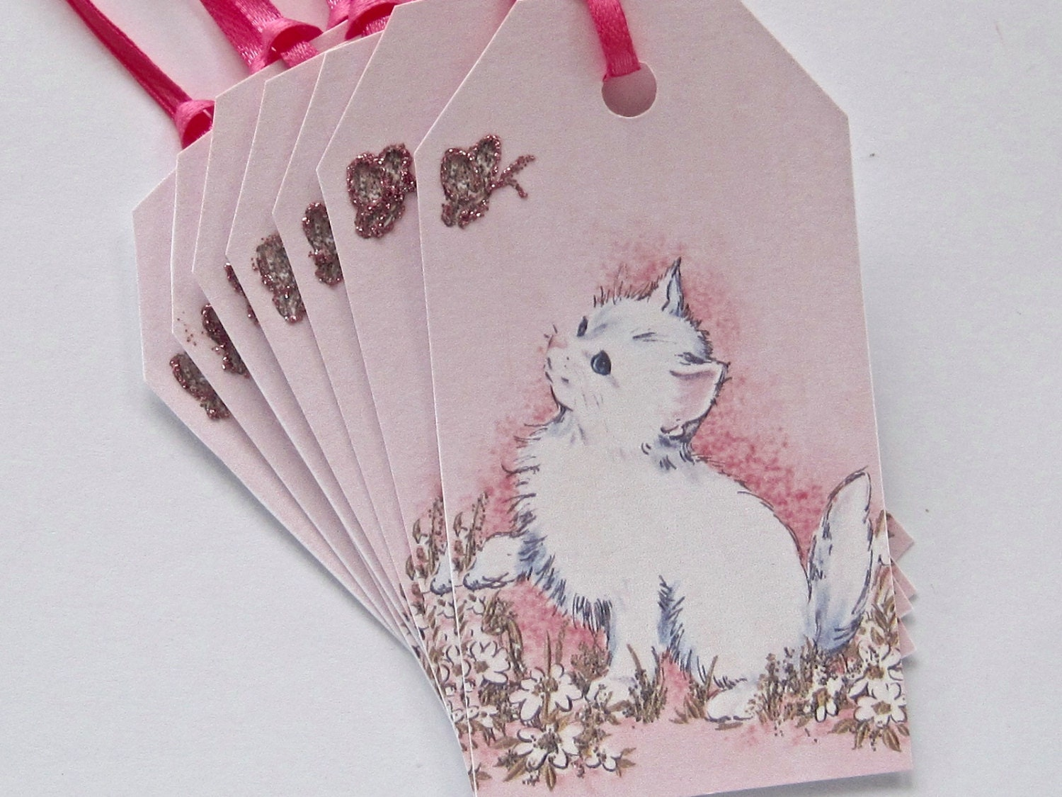 Hanging Wedding Gift Tags : Kitty Cat Gift Tags Thank You Wedding Birthday Hang Tags