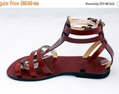 LAST SALE 20% OFF Unisex Leather Sandals Gladiator Choice of Colors Greek Roman Style Ankle Straps - Fascination