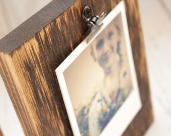 Wood Block Photo Holder Rustic Wood Photo Holder Clipboard Style Photo Holder Photo Display Block Rustic Home Decor