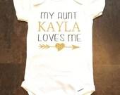 My Aunt Loves Me Baby Onesie/ Personalized/ Baby Shower Gift/ Newborn Onesie/ Black and Gold Glitter Shirt